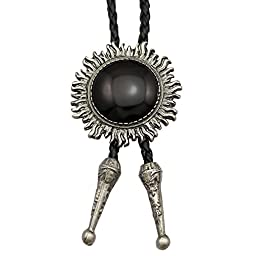 Vintage Silver Sun Faux Obsidian Leather Line Dance Rodeo Western Cowboy Bolo Bola Tie