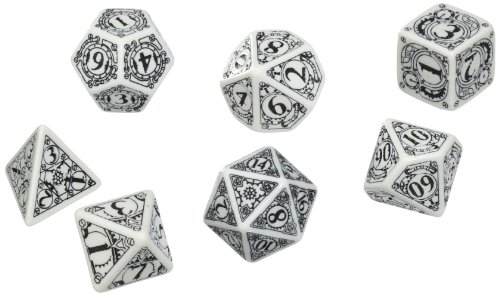 Q-Workshop Polyhedral 7-Die Set: Carved Steampunk Dice Set (White And Black)