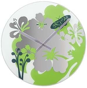 Nextime - Hibiscus Wall Clock - 43 Diameter - Glass - Green
