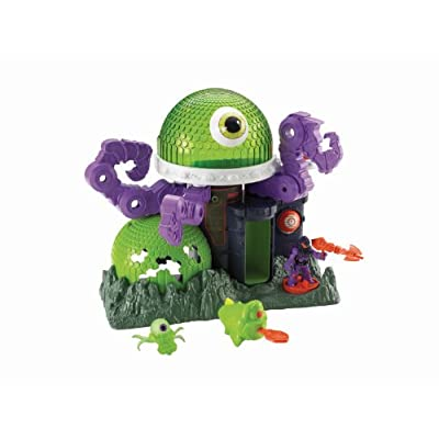With the Fisher-Price Imaginext Ion Alien Headquarters, kids become part of an outer space world of adventures where they control the action! Can the evil aliens protect their headquarters from the brave and daring humans? Move the eyeball scanner up...