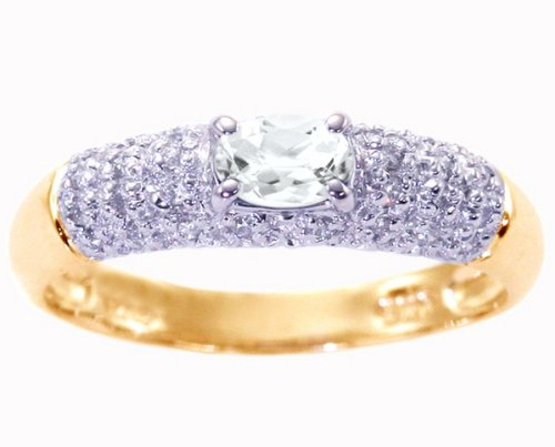 14K Yellow Gold Petite Oval Gemstone and Diamond Promise Ring-White Topaz, size6