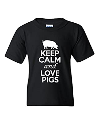 Keep Calm And Love Pigs Statement Novelty Youth Kids T-Shirt Tee