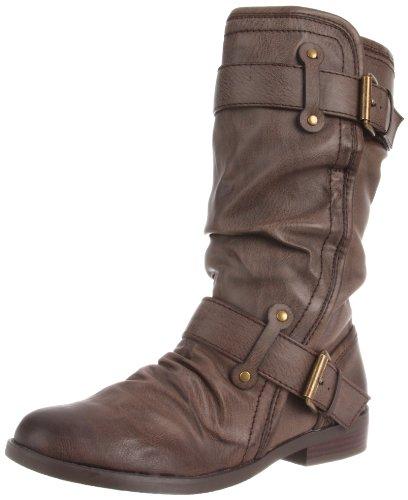 R2 Women's Hilaria Motorcycle Boot,Dark Brown,8.5