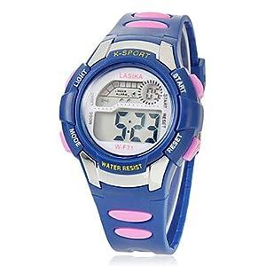 HE SHOP De los niños de múltiples funciones del dial redondo de la goma del reloj del LCD Digital (colores surtidos) por HE SHOP watches