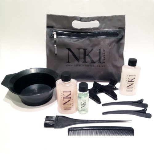 NEW NK1 Keratin Complex Brazilian Hair Straightening Smoothing Treatment Complete Full Kit For Men & Women with FREE After Care Sodium Free Shampoo Toiletry Bag & Accessories