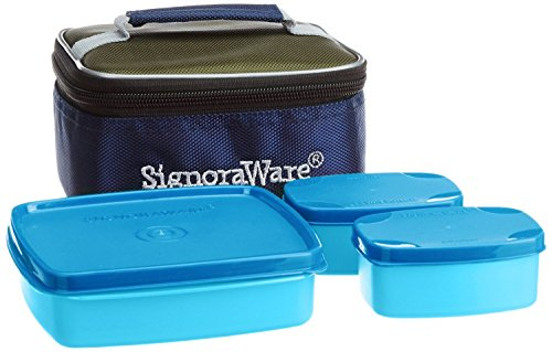 Signoraware Hot N Cute Polypropylene Lunch Box with Bag, 3 Pieces, T Blue