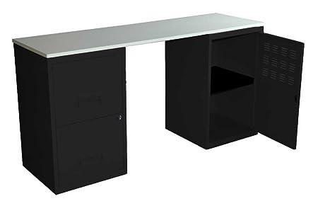 Bureau en kit noir et blanc avec 2 colonnes en métal PIERRO