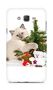 Amez designer printed 3d premium high quality back case cover for Samsung Galaxy J7 (Cat With Christmas Tree)