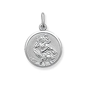 Sterling Silver Small Round St Christopher Pendant On A 16 Inch Snake Necklace