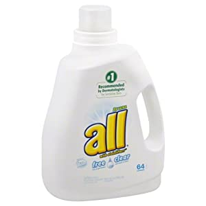 All Free Clear Laundry Detergent, He, 2x Ultra, with Stainlifters, 100 Fl. Oz.