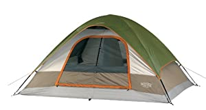 Wenzel 36421 Pine Ridge 10-by-8 foot  Four-to-Five-Person 2-Room Dome Tent (Light Grey/Green/Red)