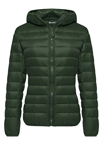 Wantdo Women's Hooded Packable Ultra Light Weight Down Coat Short Outwear(Blackish Green,US Large)