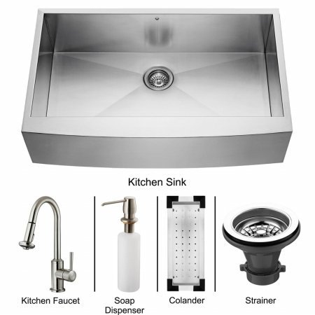 Vigo VG15109 Farmhouse Stainless Steel Kitchen Sink, Faucet, Colander, Strainer and Dispenser