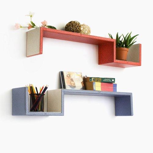Trista - [Grayish Purple & Red] S-Shaped Leather Wall Shelf / Bookshelf / Floating Shelf (Set Of 2) front-787047