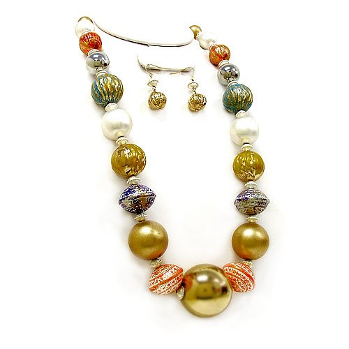 1767b 35 Bead White Silver Gold Plated Multi Necklace Earring Set