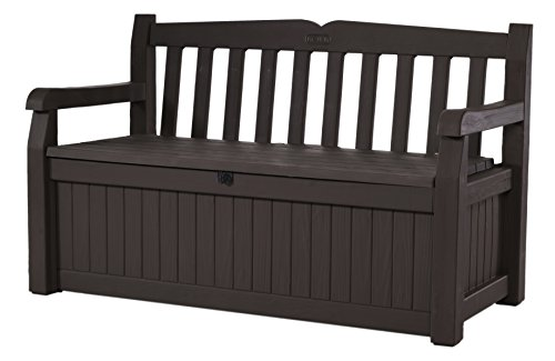 Keter Eden New All Weather Outdoor Patio Bench Deck Box Furniture 70 Gal, Brown / Brown