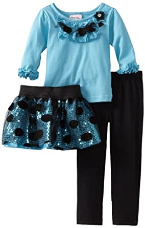 Little Lass Little Girls' 3 Piece Legging Set With Ruffles, Turquoise, 2T