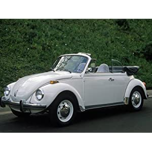 1973 White Volkswagen Convertible Super Beetle Photographic Poster Print by Charles Benes, 42x56