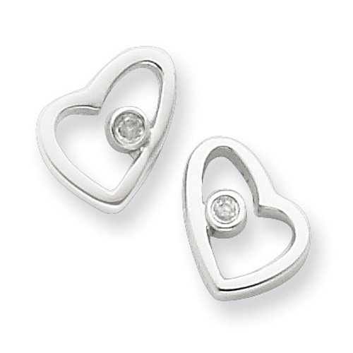 Sterling Silver White Ice .02ct Diamond Heart Earrings. Comes in a lovely Gift Box
