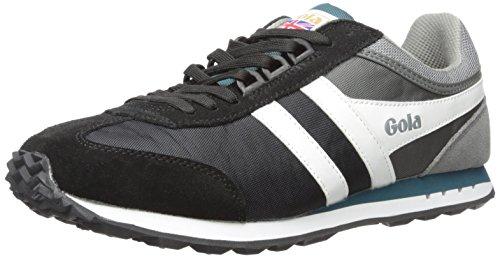 Gola Men's Boston Fashion Sneaker, Black/Grey/Teal, UK 8/9 M US