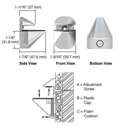"""Chrome Aluminum Glass Shelf Bracket for 5//8/"""" to 3//4/"""" Glass"""
