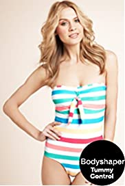 Tummy Control Striped Bandeau Swimsuit