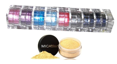 "Mineral Makeup Foundation Mf5 Cappuccino + 8 Stacks ""A-viva-blue Eyes"" Best Colors Collection for Eye Shadows+makeup Instructions"
