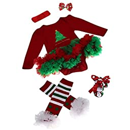Elevin(TM)Christmas Newborn Baby Girl Party Outfits Romper Clothing Sets Tutu Dress (0-3M, Red 1)