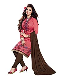 Leela Creators Women's Light Red Cotton Semi-Stitched Suits Dress Materials (Free Size_Light Red_131)