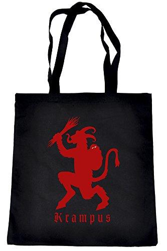 Christmas-Krampus-on-Black-Tote-Book-Bag-German-Occult-Handbag