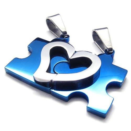 KONOV Jewelry 2pcs His & Hers Couples Gift Heart