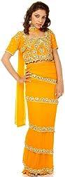 Exotic India Amber Saree-Style Lehenga Choli with Beads Embroidered as F - Amber