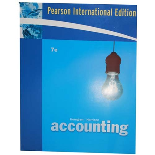 Pearson International Edition Accounting 7th Edition
