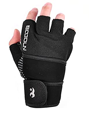 Jimmy Design Womens Mens Crossfit Fitness Weight Lifting Glove with Long Wrist Wrap Support by SEEU.INC