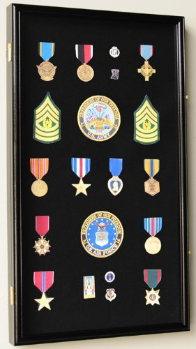 Large Military Medals, Pins, Patches, Insignia, Ribbons, Flag Display Case Cabinet, Black (Black Pin Display Case compare prices)