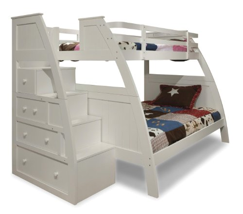 Luxury Canwood Overland Bunk Bed with Built In Stairs Drawers Twin Over Full White