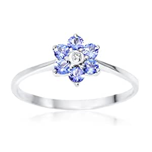 Bague Femme - Or blanc (9 cts) 1.53 Gr - Tanzanite - T 53