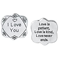 Pocket Token I Love You - Gift Carded with Loving Message - Engraved Metal - 1.25 Inch