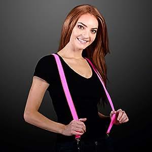 FlashingBlinkyLights Pink LED Light Up Suspenders