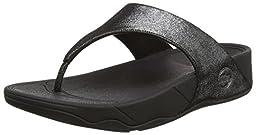 FitFlop Women\'s Lulu Shimmersuede Flip Flop, Black, 7 M US