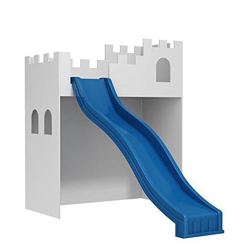 Kinderbett Kindermöbel Möbel für Kinder Kinderzimmer Möbelset mit Rutsche 195x52x294cm ZMS-Z weiß blau