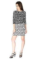 La Vida Women's Dress (SS15KD11000LAFLBLKL_Black White_Large)