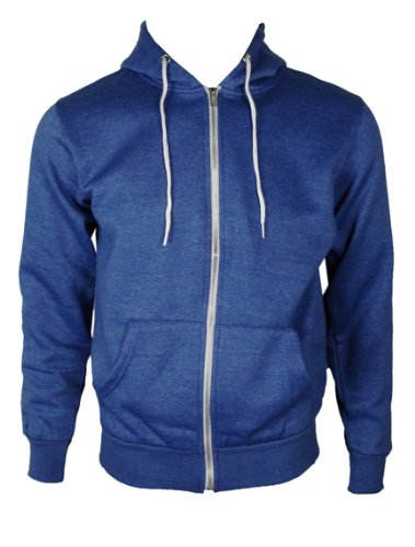 The Home of Fashion Mens Fleece Lined Hooded Jumper-XS -Blue