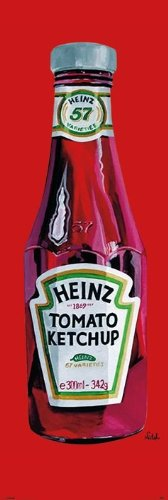 Art Door Poster Featuring A Classic Heinz Ketchup Bottle By Orla Walsh 53X158Cm