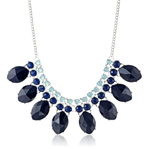 Metallic Blue Statement Necklace, 16