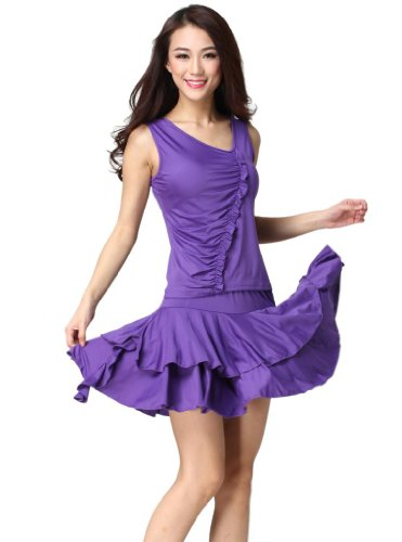 Feimei Women's Latin Dance Costume( Top And Lotus Leaf skirt) Purple