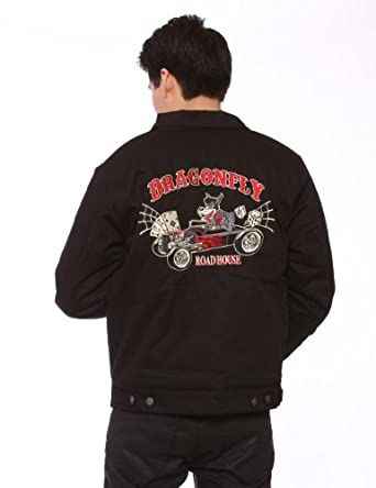 Dragonfly Wolfpack Jacket Hot Rod Wolf Embroidered Jacket Size: XL
