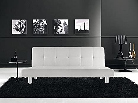 Canapé-lit 3 places en similicuir, Blanc