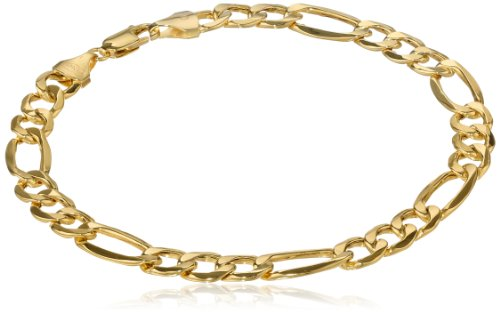 Klassics 10k Yellow Gold 7.5mm Figaro Men's Bracelet,