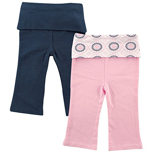 Yoga Sprout Baby 2 Pack Pants, Navy/Baby Pink Ornamental, 18-24 Months